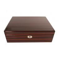 Humidor 40 szivar részére, TIKK színű szivar tároló doboz, belső hygrométerrel, párásítóval