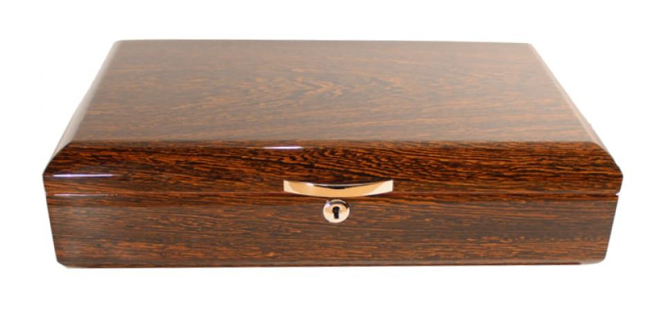 Humidor 60 szál szivar részére, cédrusfa szivar tároló doboz, párásítóval, hygrométerrel - íve