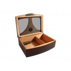 Humidor 50 szál szivar részére, cédrusfa szivar tároló doboz, üvegtetős, párásítóval, külső hygrométerrel, barna-fekete
