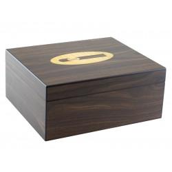 Humidor 50 szál szivar részére, dióbarna színű, spanyol cédrusfa szivartartó doboz, párásító és belső hygrometer - szivar díszítéssel