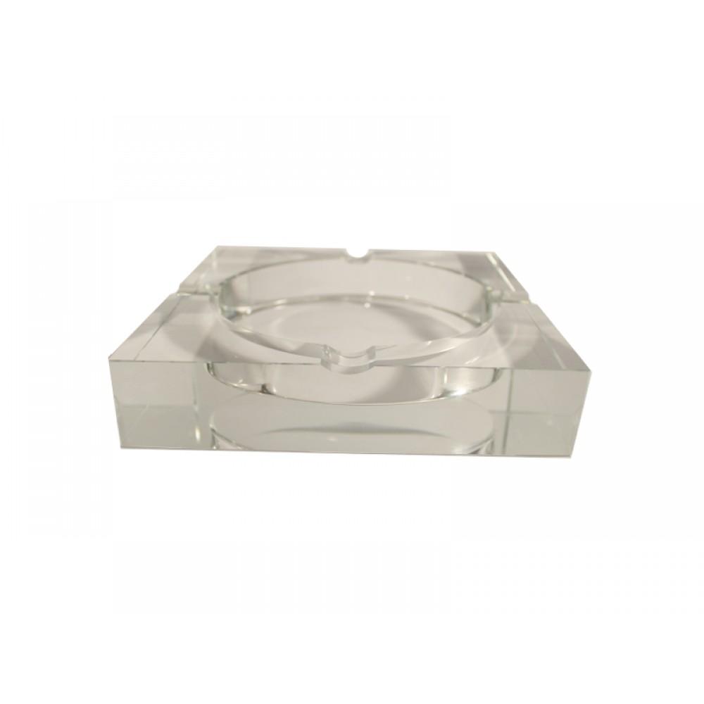 Kristály szivar hamutál - szögletes (18x18cm)