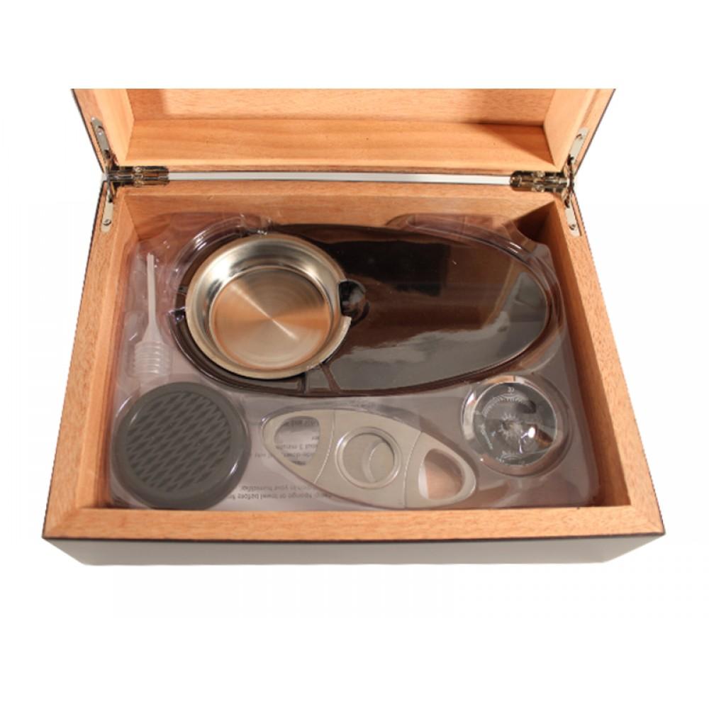 Humidor 30 szivar részére, MATT fekete színű szivar tároló doboz, belső hygrométerrel, párásítóval + AJÁNDÉK szett!