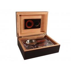 Humidor 30 szivar részére, TIKK színű cédrusfa szivar tároló doboz, belső hygrométerrel, párásítóval + AJÁNDÉK szett!