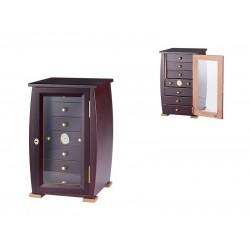 Humidor szekrény 80 szivar részére, szivar tartó szekrény, üveg ajtó, külső hygrometer,  - sötétbarna, Angelo