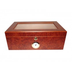 Gasztro humidor 80 szál szivarnak, barna szivartartó doboz, cédrusfa belső, üvegtető, párásító és hygrométer