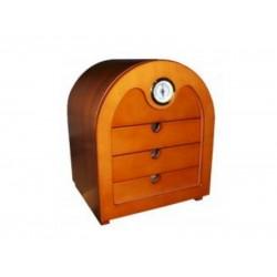 Humidor szekrény 80 szivar részére, félköríves, világosbarna, bükkfa szivartartó, külső hygrometer, üveg ajtó