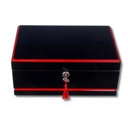 Humidor 50 szál szivar részére, cédrusfa szivar doboz, párásítóval, hygrométerrel - fekete lakkozott  (Gyönyörű ajándék!)
