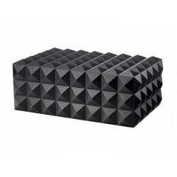 Humidor 80 szivar részére, cedrusfa, piramis mintás szivar doboz, párásítóval, hygrometerrel - fekete, Colibri Quasar