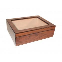 Humidor 25 szál szivar részére, cédrusfa szivar doboz, üvegtetővel, párásítóval - dió