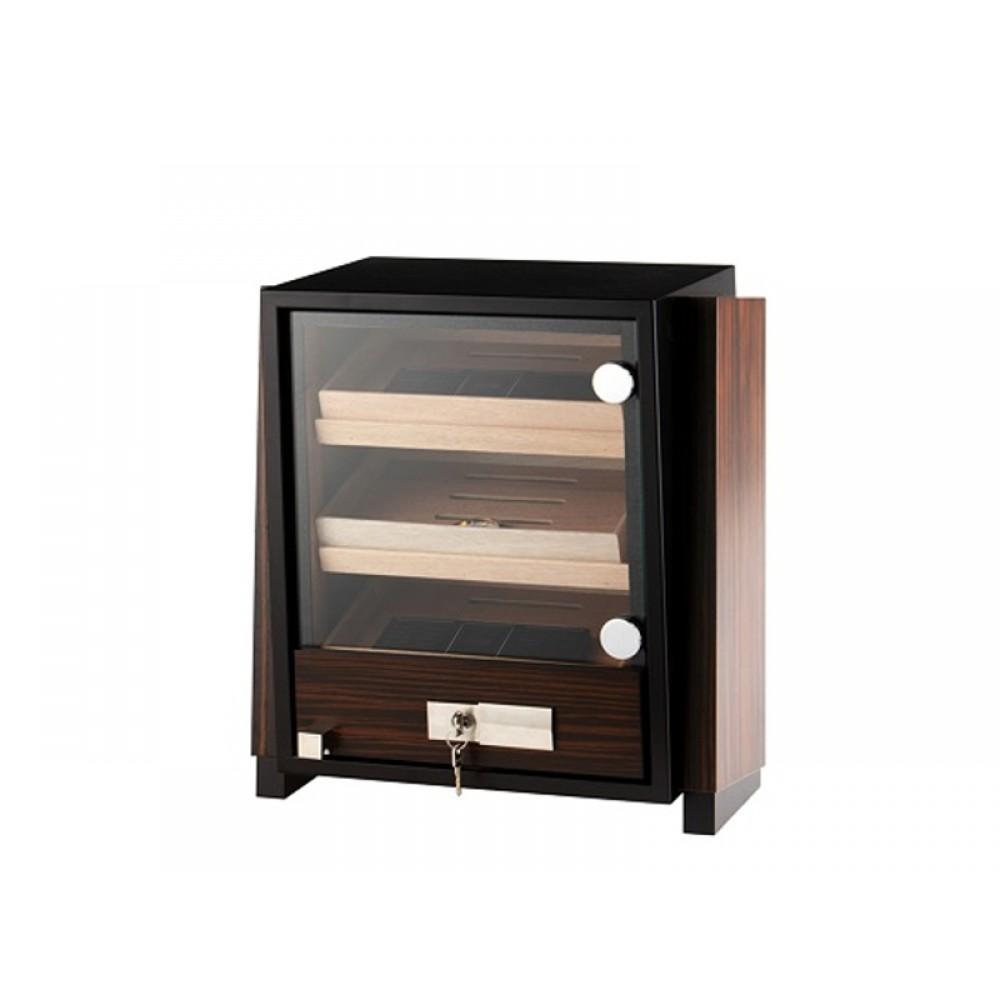 Humidor szekrény 80 szivar részére, négyszögletes szivartartó szekrény, üveg ajtóval - barna, Angelo