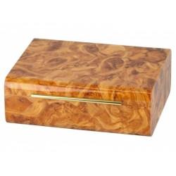Humidor 50 szivar részére, cedrusfa, lakkozott, márvány-design szivar doboz - világosbarna, Passatore