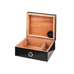 Humidor 50 szivar részére, cedrusfa, fekete carbon bevonatos szivar doboz, külső hygrometerrel