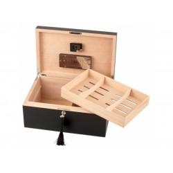 Humidor 80 szivar részére, cedrusfa, matt fekete szivar doboz, faragott tetővel, párásítóval, hygrometerrel - Passatore