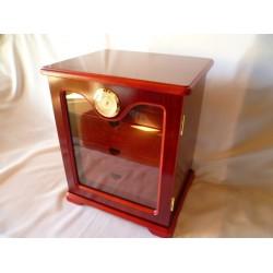 Humidor szekrény 80 szivar részére, cedrusfa szivar tároló, külső hygrometer, üveg ajtó