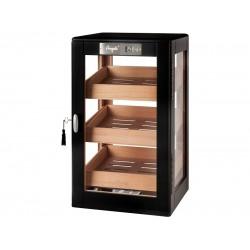 Humidorszekrény - szivar tároló szekrény 80-100 szál szivarnak, cédrusfa, körbe üveges, digitális hygrométer - fekete, Angelo