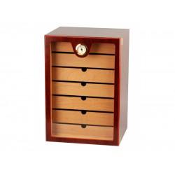 Humidorszekrény - szivar tároló, kb.150 szál szivarnak, cédrusfa belső, üveg ajtó - barna, Passatore